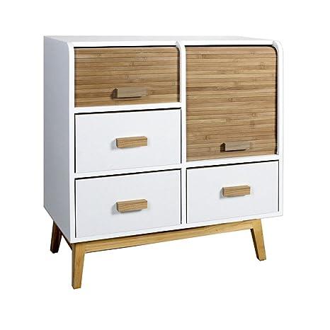 Commodes à 4 tiroirs design scandinave bois et banc (L.60xl30xH.66cm) Mila