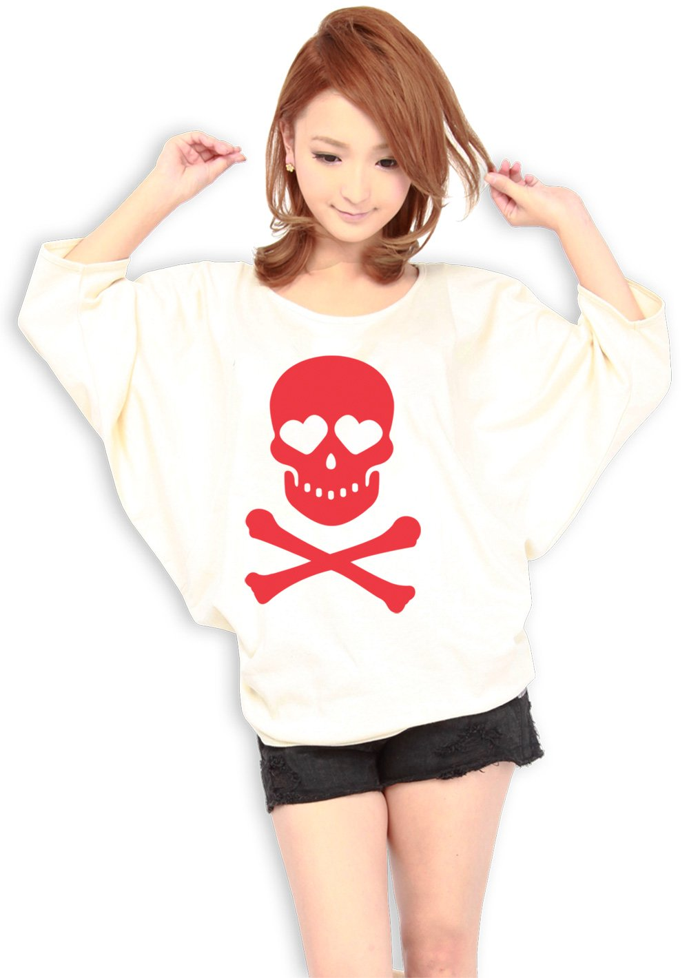 Women Dolman sleeve - 9 Colors - Red Skull & Bones