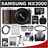 Samsung NX3000 Smart Wi-Fi Digital Camera with 16-50mm Lens & Flash (Brown) with 32GB Card + Case + Battery + Tripod + Filter + Tele/Wide Lens Kit