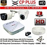 Tubros CP-UVR-0401E1S 4-Channel DVR 1 (CP-VCQ-D-10-L2) Dome 1 (CP-UVC-T1000L2A-0360) Bullet Cameras (With Cable,Power Supply,Connectors)