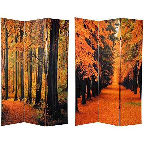 Oriental Furniture 6 ft. Tall Double Sided Autumn Trees Room Divider