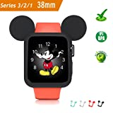 Apple Watch Case 38MM (Black), Mickey Mouse Ears Soft Silicone Protective Cover for iWatch Series 3/Series 2/Series 1 Sport/Edition/Nike+ by pipigo