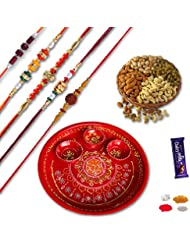 Set Of 5 Designer Bead,Rudraksh Rakhi And Red Ganesh Rakhi Thali With Dryfruits Gift Hamper