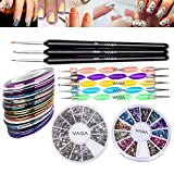 Great Value Premium Quality Professional Nail Art Accessories Set Kit With 5 Colorful Double Ended Dotting / Marbling Tools / Dotters, 3 Wooden Handled Detailer Brushes / Stripers / Liners, Wheels of 1200 Silver Rhinestones Decorations And of 2400 Crystals / Gemstones Decorations In 12 Different Colors And 10 Rolls Striping Tapes By VAGA
