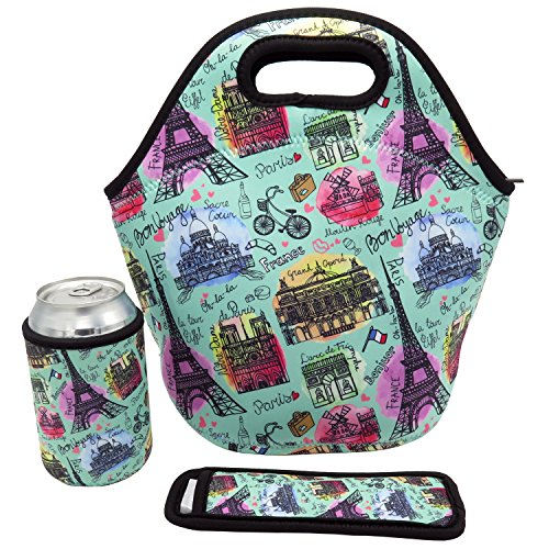 Neoprene Insulated Lunch Tote Bag Paris Set - Waterproof Thick Cooler Carry Bag for Travel and Picnic (Paris Set)