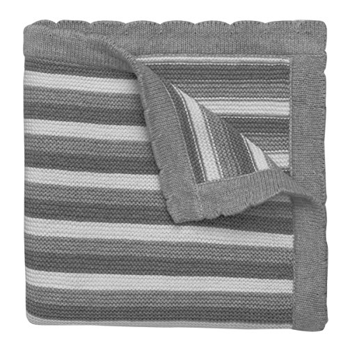 "Elegant Baby 100% Cotton Sweater Knit Blanket, Gray Stripes, 30"" X 40"""
