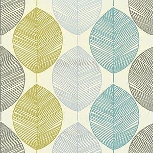Teal / Lime Green - 408207 - Retro Leaf - Motif - Arthouse Wallpaper