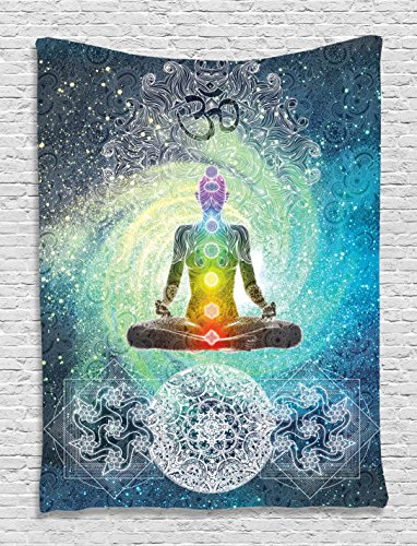 Indian Tapestry Yoga Decor by Ambesonne, Mandala Zen Wall Meditation Batik Hippie Om Sign Chakra Tapestry Indian Hanging Dorm Bedroom Living Room Decorations, Turquoise Yellow Red Orange White (Yoga Pictures compare prices)