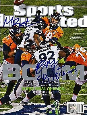Michael Bennett & Brandon Mebane Autographed Sports Illustrated Magazine Seattle Seahawks SB 48 Champs - Authentic Signed Autograph