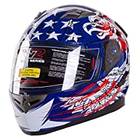 """IV2 """"THE PATRIOT"""" Modular Dual Visor Motorcycle / Snowmobile Helmet, With Built in Drop Down Tinted Visor, DOT Approved (MEDIUM) from IV2 Helmets"""
