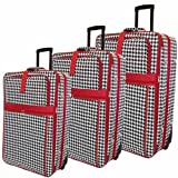 All-Seasons Vacation Expandable 3-Piece Upright Luggage Set - Red Houndstooth