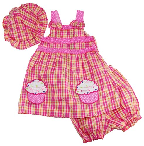 Coney Island Baby Girls Pink Cupcake Sleeveless Sundress Hat Diaper Cover Set front-56797