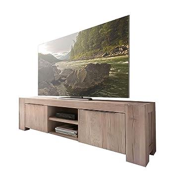 TV Lowboard Unterschrank Fernsehschrank Granby 160 cm, Massivholz Holz Eiche massiv Balkeneiche White Wash, Breite 160 cm, Tiefe 48 cm, Höhe 50 cm