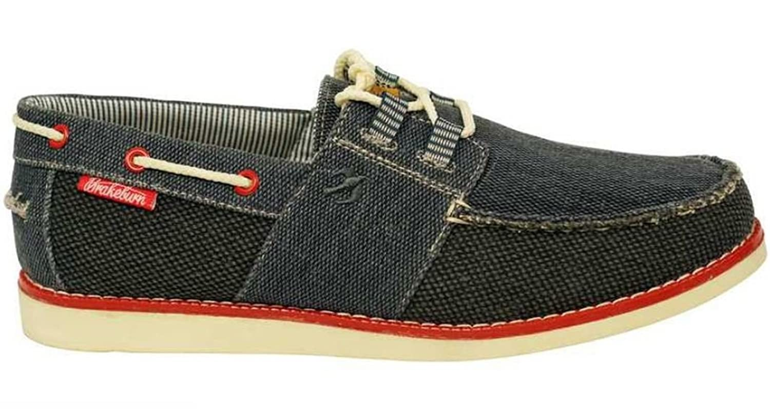 Brakeburn Burnbake Navy Grey Red Canvas Mens New Boat Shoes Boots