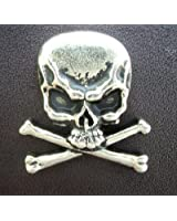 "Metal Skull & Crossbones Cast Ornament with Rivet 1"" X 1"" 6 Pieces"