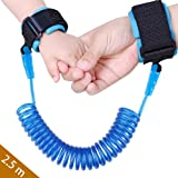 Baby Child Anti Lost Safety Wrist Link Harness Strap Rope Backpack Leash Walking Hand Belt Band Wristband for Toddlers, Kids(2.5m Blue) (Color: 2.5m-Blue, Tamaño: 8.2 feet)