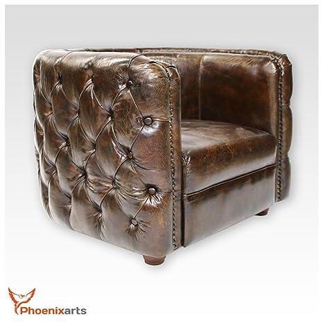 Phoenixarts 462 Fauteuil club Chesterfield vintage en cuir véritable