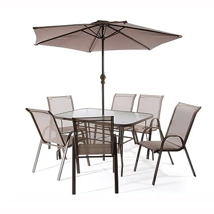"""Set Mobili da Giardino Betty Garden (Tavolo + 6 Sedie + Ombrellone) Spedizione """"One"""" Pallet Sicuro) - SET da Giardino Professionali"""