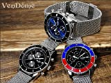 回転ベゼル ルミナス自動巻き 腕時計 レッド×ブルー メッシュベルト クロノグラフモデル 赤 青 銀[並行輸入品] [時計]