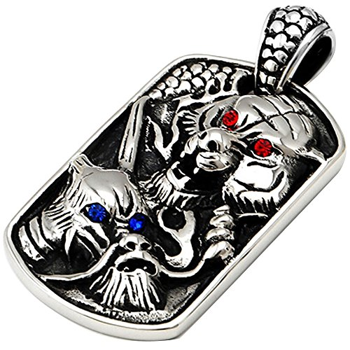 Men'S Stainless Steel Tribal Cz Tiger Dragon King Dog Tag Pendant Necklace Silver Blue Red 23 Inch Chain