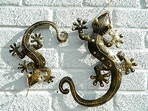 Metal Wall Art Gecko Lizard - Gold Set Of 2