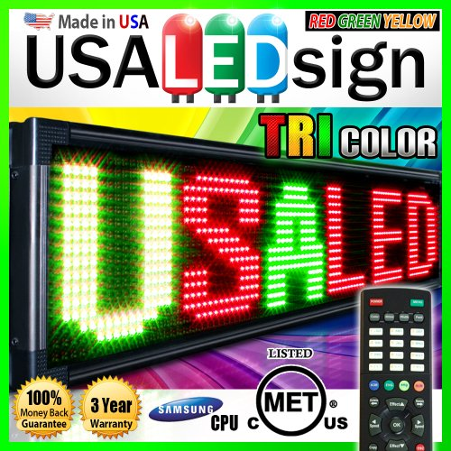 "Led Signs 31"" X 13"" Tri-Color Bright Digital Programmable Scrolling Message Display / Business Tools"