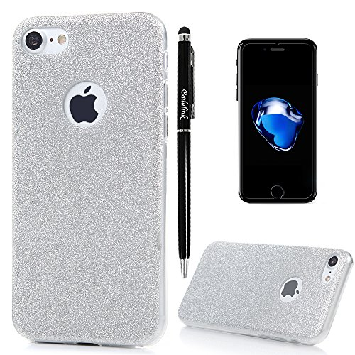 iphone-7-case-47-inch-shockproof-semi-transparent-frosted-soft-tpu-rubber-skin-gel-shiny-glitter-pow