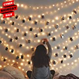 Besteamer Photo Clips Lights, Fairy 30 LED lights battery operated Dorm Lighting Hanging Artwork Photos Memos Paintings bedroom, dorm, home décor (Warm White, picture photo string lights) (Color: Warm White, Tamaño: 30 clips)
