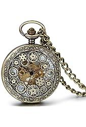 JewelryWe Classic Antique Half Hunter Metal Hollow Gear Wheel Skeleton Hand Wind Mechanical Pocket Watch with Chain