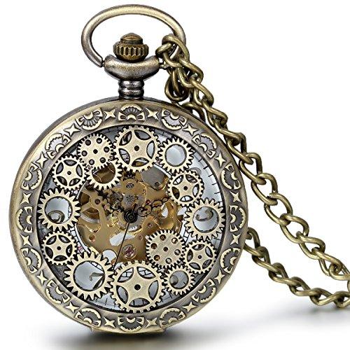 Regalo de papá Día del padre Jewelrywe reloj de bolsillo mecánico bronce esqueleto huecos relojes mecánicos hombre mujer, regalo de Navidad