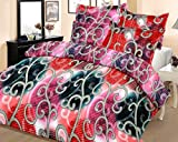 Casa Copenhagen Ista Blue Kite 7.5x8.25ft Cotton Double Bedsheet With 2 Pillow Covers - Red & White
