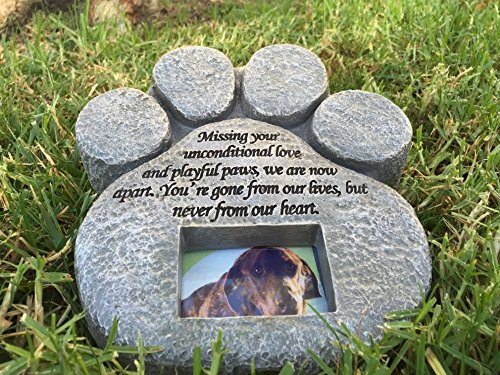 Paw Print Pet Memorial Stone Features A Photo Frame And Sympathy Poem Made Of Weatherproof