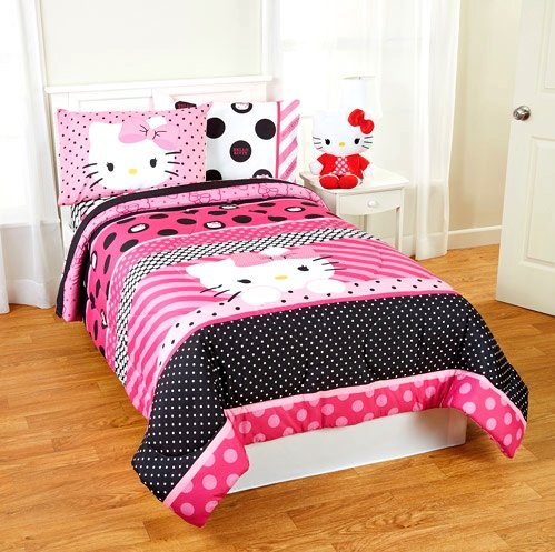 4Pc Girl Pink Black Hello Kitty Polka Dot Twin Comforter & Sheet Set (4Pc Bed In A Bag)