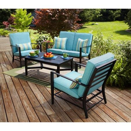 4 Piece Blue Patio Set