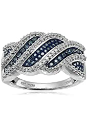 Sterling Silver and Blue and White Diamond Ring (1/2 cttw, I-J Color, I2-I3 Clarity), Size 7