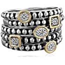 Sterling Silver and 14k Yellow Gold Five Bands with Diamond Accent Stackable Ring, Size 6
