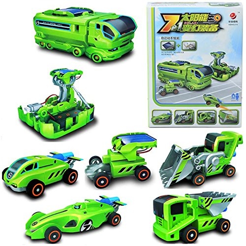 Allnice® 7 In 1 Green Children Educational Solar Powered Diy Changeable Toy Electric Car For Kids