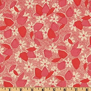44'' Wide Antique Treasures Tulips Red Fabric By The Yard