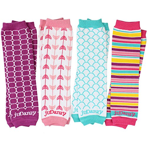 JuDanzy 4-pack Organic baby & toddler leg warmers gift set for boys & girls (One Size (12 pounds to 10 years), West coast - girls)