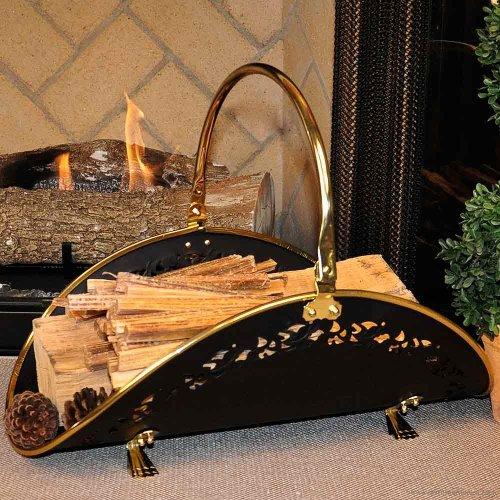 Polished Brass/Black Filigree Body Wood Basket - 21 inch (Filigree Basket compare prices)
