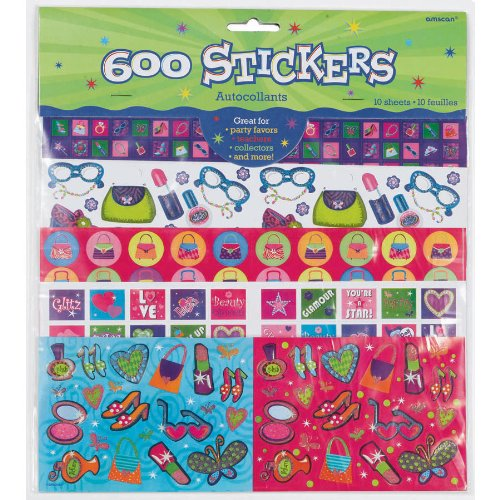Stickers Collection Theme Party Supplies Favors 600 Glitz Girly Girl Princess