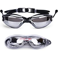 Baen Sendi UV Protection Adult Swimming Goggles with Siamese Ear Plugs (Black)
