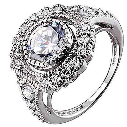 Sterling Silver Round Cubic Zirconia Antique Style Engagement Wedding Ring