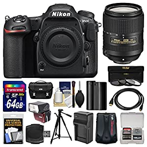 Nikon D500 Wi-Fi 4K Digital SLR Camera Body with 18-300mm VR Lens + 64GB Card + Case + Flash + Battery & Charger + Tripod + Kit