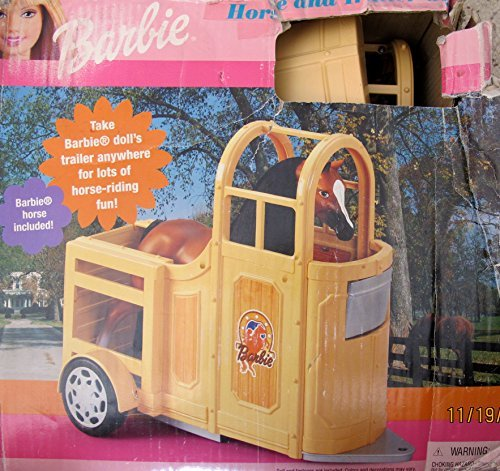 BARBIE HORSE and TRAILER GIFT SET Playset w HORSE TRAILER & Horse w Combable MANE & TAIL (2000 Made in ITALY) (Barbie Truck And Horse Trailer compare prices)