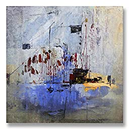 Neron Art - Hand painted Abstract Oil Painting on Rolled Canvas for Living Room Wall Decor - Qena 48X48 inch