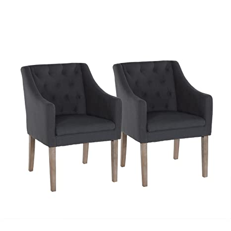 Loungesessel Stuhl Esszimmerstuhl Wohnzimmerstuhl Stoff dunkelgrau 2er Set