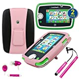 BIRUGEAR Kid-Friendly PU Leather Stand Case W/ Stylus, Headset, Screen Protector for LeapFrog LeapPad3 Kids' Learning Tablet / LeapPad 3 Tablet 2014 (3rd Generation) - Pink