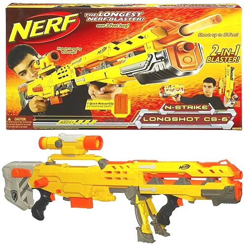 Yellow Nerf Rifle N-Strike Longshot CS-6 Blaster