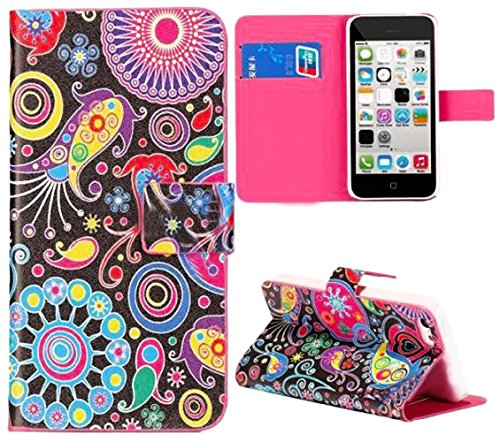 Mylife (Tm) Black And Rainbow {Paisley And Shapes Design} Faux Leather (Card, Cash And Id Holder + Magnetic Closing) Slim Wallet For The Iphone 5C Smartphone By Apple (External Textured Synthetic Leather With Magnetic Clip + Internal Secure Snap In Hard R